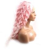 Большими фигурными Очаровательный розовый Synhetic кружева передней парики косплей