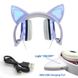 Cat Auriculares con cable de carga USB luces brillantes