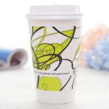Taza de café de papel impresa de 16 onzas con la cubierta