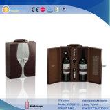 Hölzerner Flaschen-Kasten-Leder-Wein-verpackenkasten des Wein-2 (5592R11)