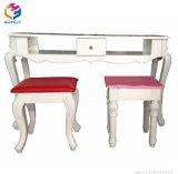 Tabella bianca del manicure della mobilia del salone del chiodo della Tabella di vetro
