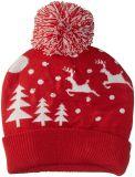 Kundenspezifischer Frauen-Hut-Winter Snowy beleuchtet SanktBeanieroten gestrickten Toque