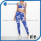 幾何学的な星プリントヨガの女性のスポーツのスーツの青く高いウエストLeggings+Sleevelessの上のブラのスムーズで柔らかい適性セット