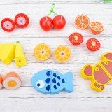 Kids Education Toy Wooden Kitchen Fruit Vegetables Cutting Blocks