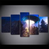 [هد] طبع 5 [بيس كنفس] فن [أوفو] غريب عربة فضائيّة سماء نوع خيش صورة زيتيّة جدار صور لأنّ يعيش غرفة