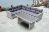 Garden Patio Rattan Wicker Outdoor Furniture Loungest Canapé Polywood Table (J725-POL)