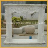 Weißer Marmorkamin mit schöne Blumen-elektrischer Kamin-Kaminsims-Einfassung