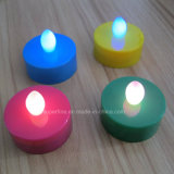 プラスチック柱電池式の多色刷りの模造Flameless LED Tealights