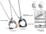 カップルのステンレス鋼のリングの低下の吊り下げ式のネックレスの銀の円によってはめ込まれる石
