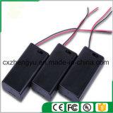 support de la batterie 2AA avec les fils, la couverture et commutateur rouges/noirs de fil
