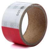 トラックの安全警告テープのための赤く/白い縞の反射フィルム