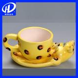 新しい漫画牛プリントふた及びスプーンが付いている陶磁器のコップの茶ミルクのコーヒー・マグ