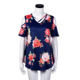 Мода женщин печатных цветов ослабление футболка одежда блуза