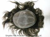 Mono Base PU revêtue d'Indien Remy Hair Toupee masculin