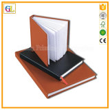 カスタムPUの革ハードカバーのペーパー日記のノート