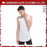 Magliette giro collo bianche normali poco costose all'ingrosso di ginnastica di modo (ELTVI-8)