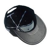 Sombrero Negro de cuero bordados personalizados Bill Tapa Plana Snapback