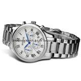 多機能のステンレス鋼の水晶男性用腕時計