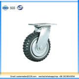 Durable de la plaque plat Heavy Duty/frein de pivotement/rigide PU Roulettes de roue