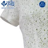 Blanco redondo cuello de manga corta delgado trasero-cremallera una línea de vestido de moda