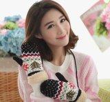 2016 перчаток Knit двойного слоя повелительниц зимы с картиной рождественской елки