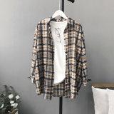 형식 최신 여자 긴 소매 블라우스 격자 무늬의 셔츠