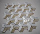 O melhor preço Bege Cinzento Branco 3D cores misturadas em mármore com mosaicos de azulejos Design de parede de fundo