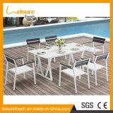 Pátio de boa qualidade de alumínio barato e 8 cadeiras de mesa moderna Piscina Jardim Hotel Home Mobiliário Conjunto de jantar