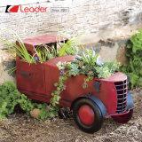 De populaire Blauwe Planter van de Vrachtwagen van het Metaal voor het Ornament van de Tuin en van het Huis, OEM Ontwerpen wordt verwelkomd