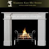 Lareira em mármore branco natural a Mantel/decoração envolvente
