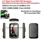 """新しい3.5 """"容量性接触携帯用GPSの操縦士のひるみ6.0のBluetoothのヘッドセットの防水IP65オートバイのバイク車手持ち型GPS"""