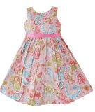Robe de filles fleur rose Taille de la courroie d'impression Boutique 2-10