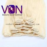 Venda por grosso de qualidade superior loira 100% brasileira a presilha de cabelo na extensão de cabelo humano