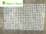 Итальянская белая чернота плитки мозаики Carrara мраморный Basketweave ставит точки 1 x 2
