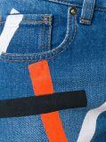 Jeans de crapaudine estampés par femmes bleues de denim d'ami