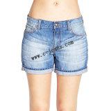Corto de ocio de la mujer pantalones vaqueros algodón Denim jeans de moda (14153)