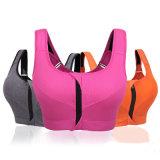 Nylon réversible Spandex Zip Front Womens Activewear Yoga Bra
