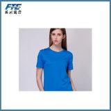T-shirt avec la couleur pure de mode ronde de collet