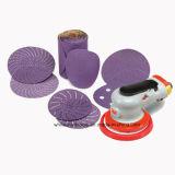 Carta vetrata abrasiva di ceramica viola con nastro adesivo magico