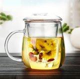 Taza de té de cristal de Resitance del calor hecho a mano con la infusión y la tapa