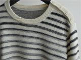 Maglioni lavorati a maglia degli uomini barrati manicotto lungo nero di inverno