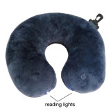 Eléctrico en forma de U Vibrante Luces de lectura Travel Neck Massage Pillow
