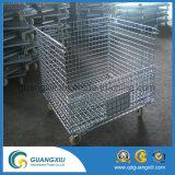 Dobragem de depósito de armazenagem de contêineres de malha de arame empilháveis com Rodas