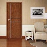 Porte stratifiée par PVC de matériau d'OEM/ODM WPC pour la chambre à coucher de salle de bains (KM-11)