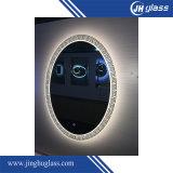 Ronda decorativa LED espejo ovalado de aluminio plateado con sensor táctil