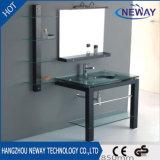 Lavabo de cristal simple de madera maciza gabinete de vanidades de baño