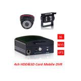 4 canales de entrada AV D1 H.264 grabación en tiempo real SD Card Storagy registrador