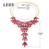 Maxi colliers de rapport de Rose de Rhinestone de forme en cristal rouge exquise de fleur