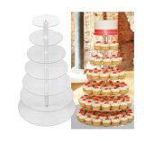 透明なアクリルの円形の結婚式のカップケーキの立場