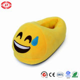 눈물 재미있은 노란 견면 벨벳에 의하여 채워지는 연약한 슬리퍼를 가진 큰 웃음